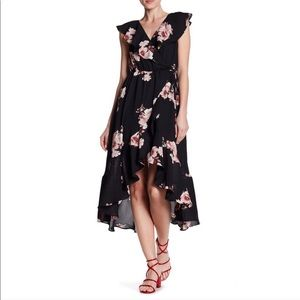 3/$20 Soprano Black Floral Ruffle Midi Dress